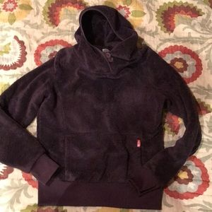 North face fuzzy pullover with hood. Supper warm.